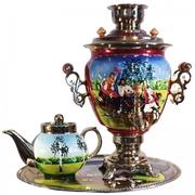 Самовар,  чайник и поднос с росписью из Тулы!